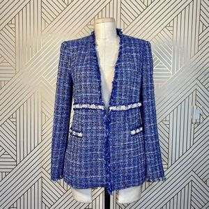 Zara Blue Frayed Tweed Pearl Trim Blazer